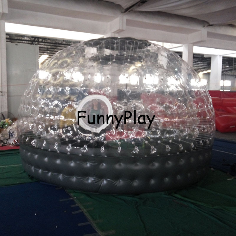 inflatable Sauna bubble tent half clear half black bubble house for hotel rental,Family Camping Backyard Advertising - 2