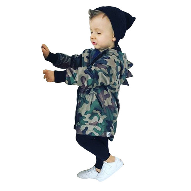 Winter 2018 kids clothes newstyle Kids Baby Boy Dinosaur Camouflage Hooded Windbreaker Tops Coat Jacket Clothes for baby QC3