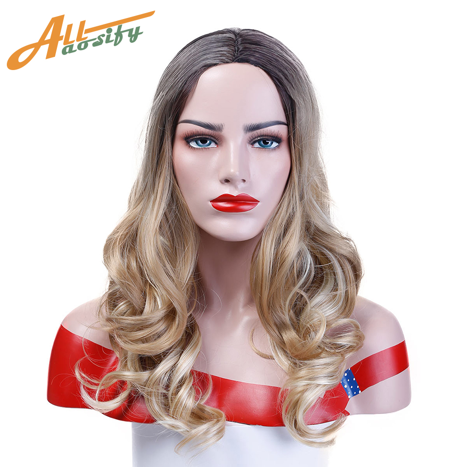 Allaosify Long Wavy Ash Blond Ombre Wigs for Women Dark Brown Wave Middle Part Heat Resistant Synthetic Full Wig Cosplay Wig ...