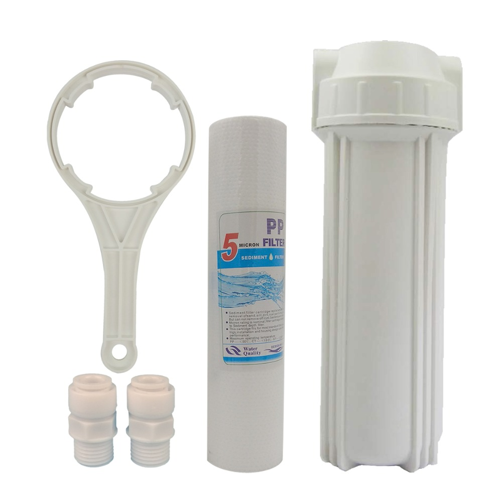 1/4 10 inch water Pre-filter water purifier water filter,PPF cotton single stage prefilter water filter parts pp cotton pre water purifier with bracket and wrench transparent housings 10 inches 1 4 inch port