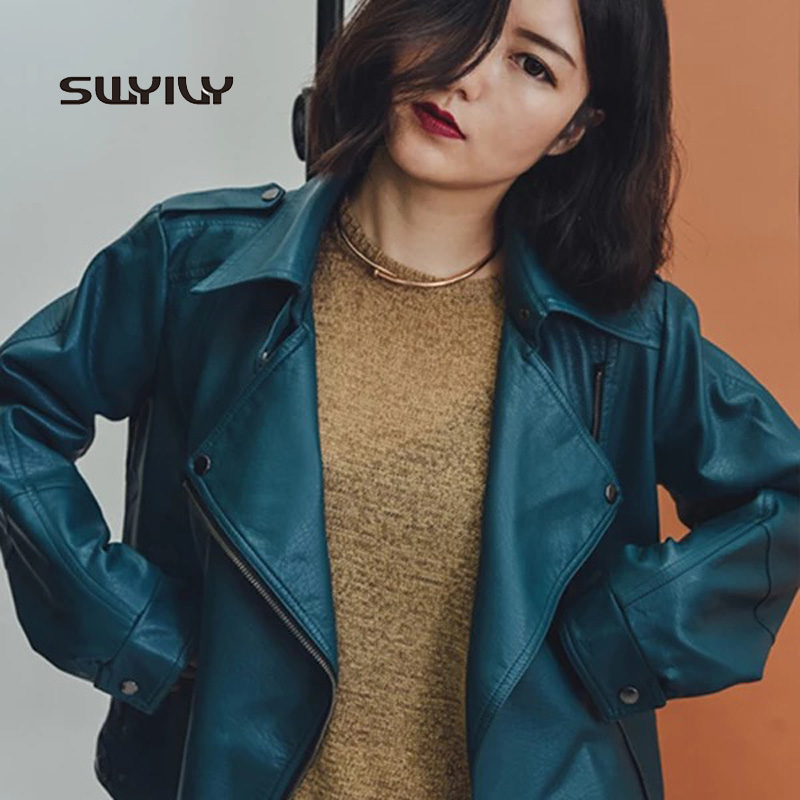 Fashion 2017 Spring And Autumn Blue Retro   Leather   Jacket Motorcycle Loose Coat Zipper Women's Short Jacket With Pockets