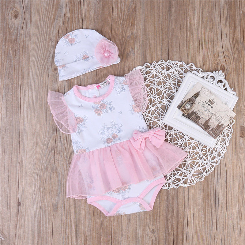 Children Girls Rompers Cute Clothing Infant Newborn Baby Girl Romper Hat Jumpsuit Clothes Outfits US newborn baby rompers baby clothing 100% cotton infant jumpsuit ropa bebe long sleeve girl boys rompers costumes baby romper