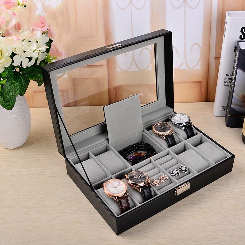 Multi fonctionnelle 8 + 2 montre boîte à bijoux PU en cuir de haute qualité montre affichage de la boîte boîte de montre de stockage organisateur AP12051544