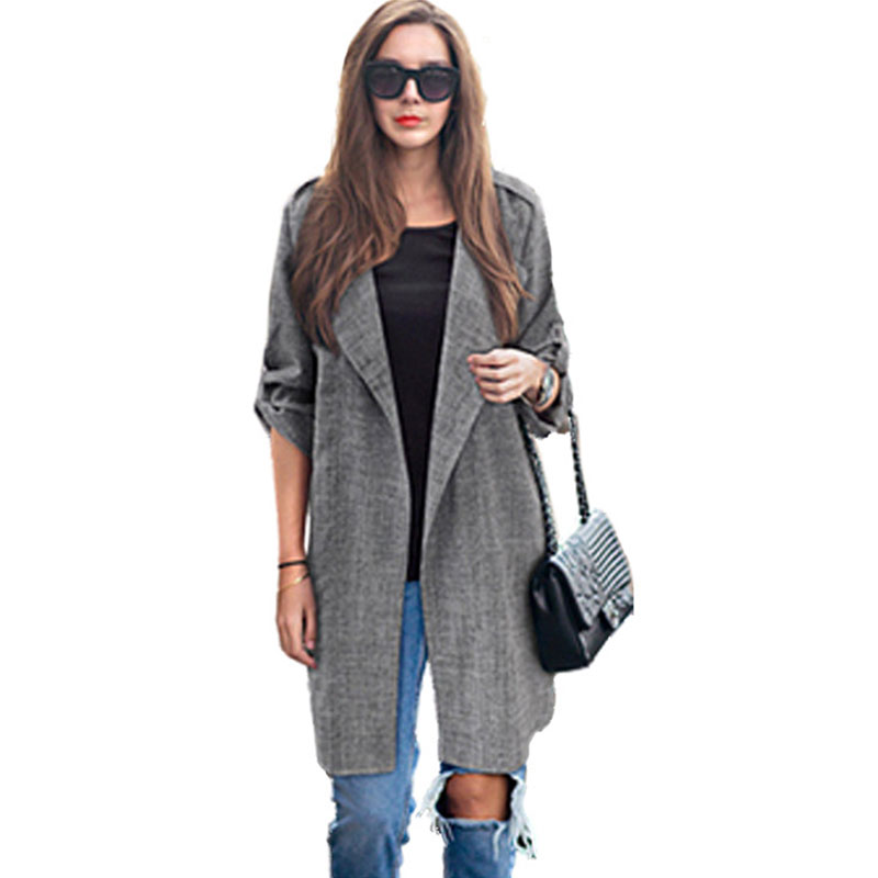Mid-long Turn-down Collar Loose   Trench   Coats Women Solid Adjustable Sleeve Thin Outwears Plus Size Ladies Fashion Elegant   Trench