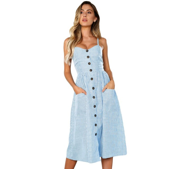 cc5a5380233 Zmvkgsoa Long Sundress Sexxy Casual Spaghetti Strap Blue White Striped  Button Down Mid Calf Dress Boho Vestido Female VV610030