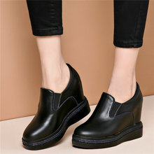 купить Casual Shoes Women Genuine Leather Wedges Super High Heel Pumps Shoes Slip On Platform Oxfords Tennis Shoes Punk Creepers Size 9 по цене 4374.88 рублей