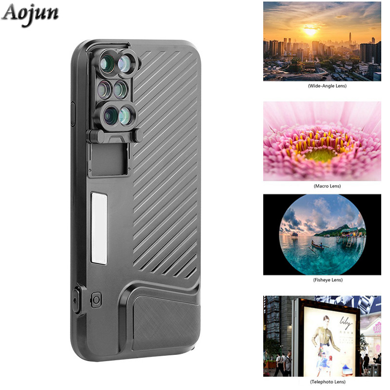 purchase cheap 50ef9 2d7ea US $28.73 28% OFF|2018 Dual Camera Lens For iPhone 8 Plus Fisheye Wide  Angle Macro Lens For iPhone 7 Plus Phone Case Telescope Lens-in Phone Pouch  ...