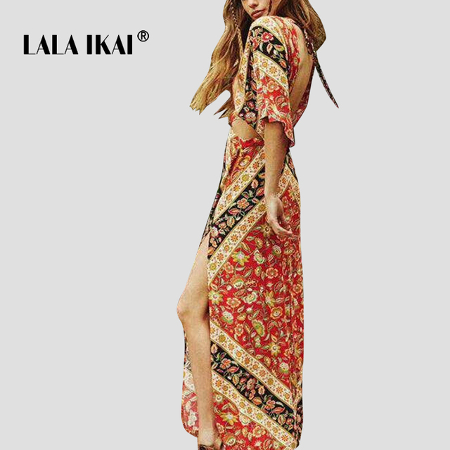 6a57b527c2e5 LALA IKAI Brand Backless Women Summer Dress Hollow Out Floral Printed Boho  Vestido Sexy Beach Party Maxi Dresses Lady SWC2068-47