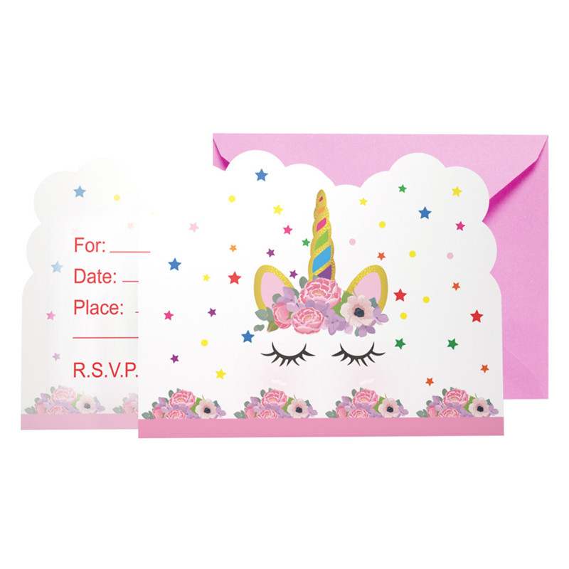 Us 2 89 6pcs Lot Cartoon Unicorn Theme Birthday Party Invitation Cards Children Pink Wedding Invitations Girl Baby Shower Party Supplies In Cards