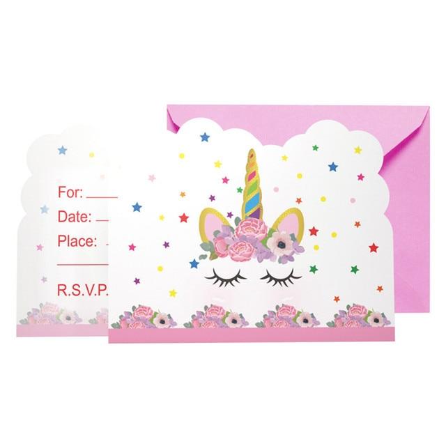 6pcs lot cartoon unicorn theme birthday party invitation cards children pink wedding invitations girl baby shower party supplies
