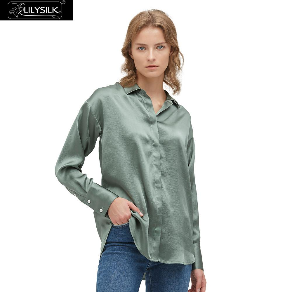 LilySilk 셔츠 세련되고 편안한 실크 여성용 무료 배송-에서블라우스 & 셔츠부터 여성 의류 의  그룹 1