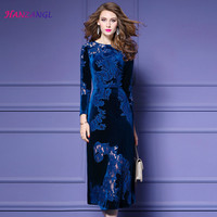HANZANGL Autumn Winter Plus Size Velvet Embroidered Vintage Dress Elegant A Line Dresses Black Blue S