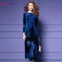 Hanzangl на осень зиму Большие размеры бархат вышитые Винтажное платье Элегантные линии платья Черный Синий S до 3XL