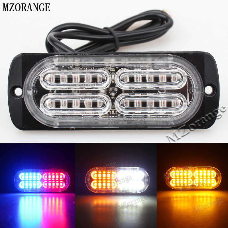 MZORANGE Ultra-thin High Power Waterproof 12V-24V 20 LED Car Truck Emergency Side Strobe Warning Flashing Light White Red Amber