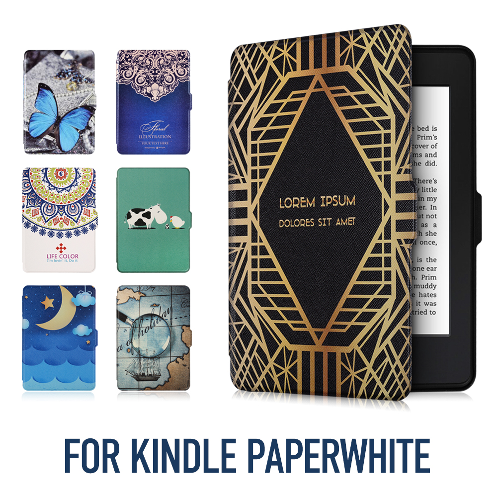 Case Cover for Amazon Kindle Paperwhite Cross Pattern Synthetic PU Leather with Built-in Magnet Features Auto Wakeup/Sleep New walnew case for amazon new kindle paperwhite 7th