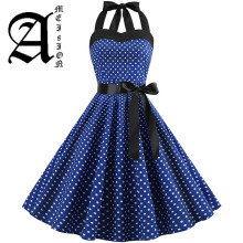 купить Sexy Halter Party Dress 2019 Retro Polka Dot Hepburn Vintage 50s 60s Pin Up Rockabilly Dresses Robe Plus Size Elegant Midi Dress дешево