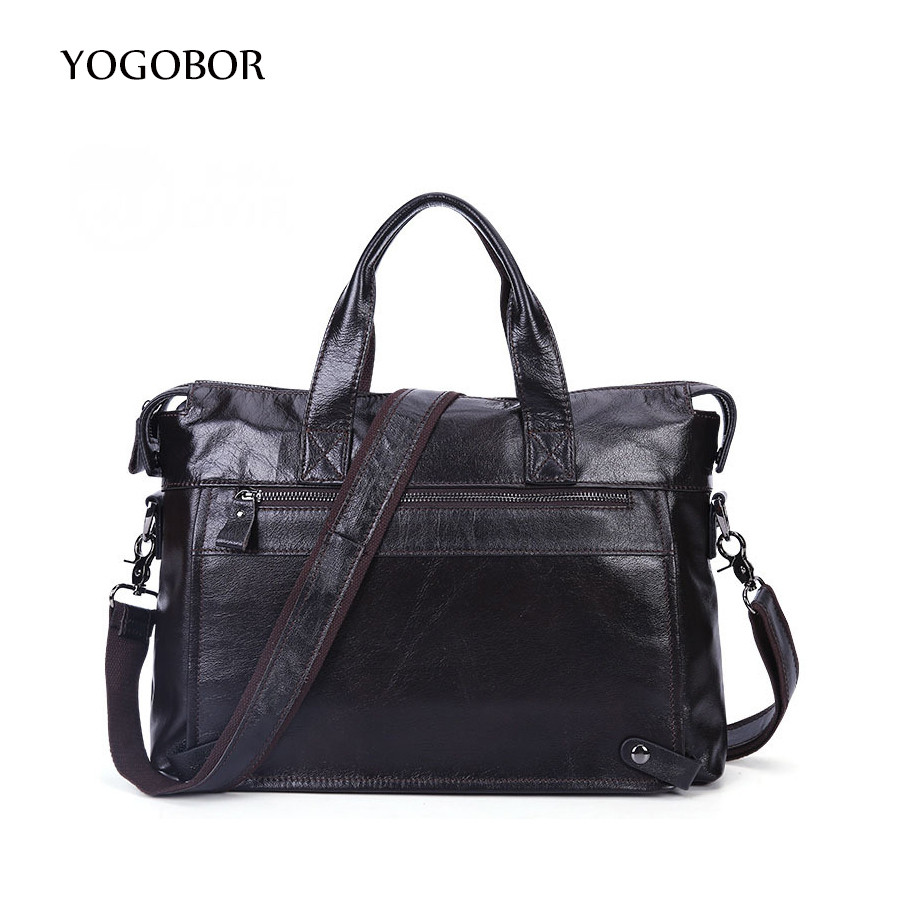 ФОТО YOGOBOR Genuine Leather Men Briefcase Man Bags Business Laptop Tote Bag Men's Crossbody Shoulder Messenger Bag Men's Travel Bags