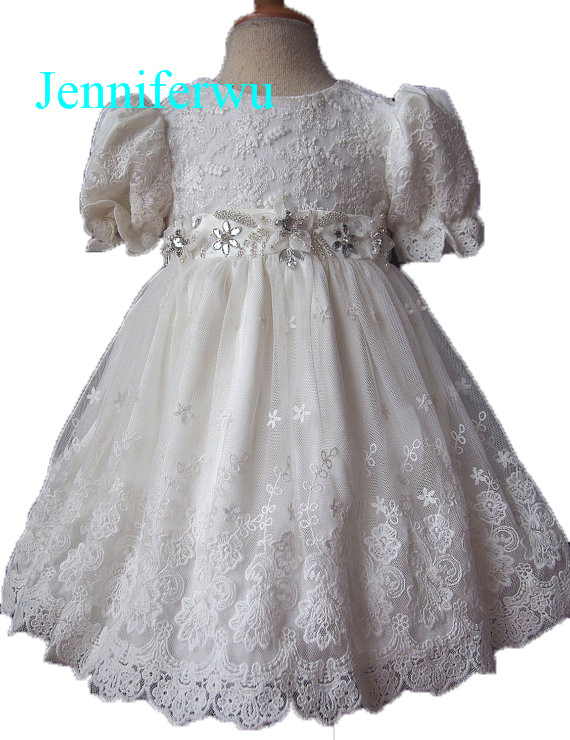 ФОТО knee lenth crystal beaded infrant girl dress for pageant 1T-6T G072-5