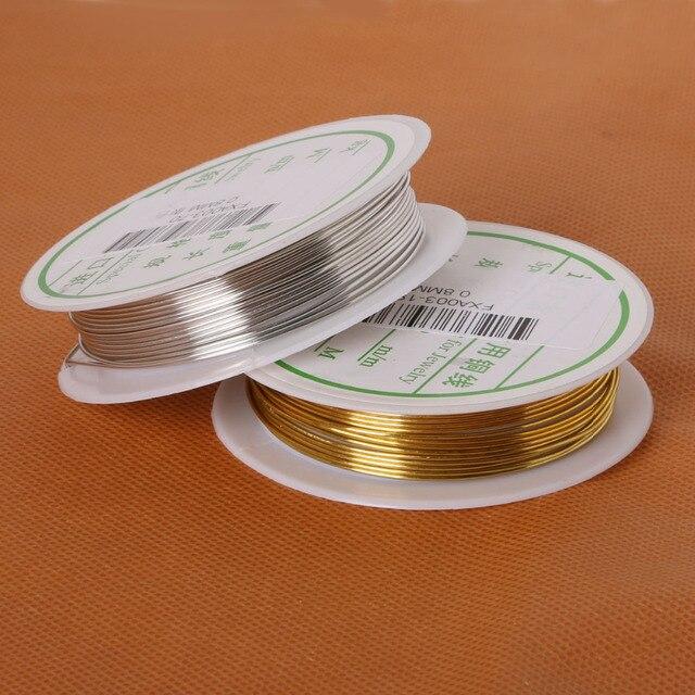 0,3/0,4/0,5/0,6/0,8mm 3 mt/rolle 2 rollen Legierung Cord Silber Gold überzogenen Handwerk Perlen Seil Kupferdrähte Schmuckdraht Schmuck Machen