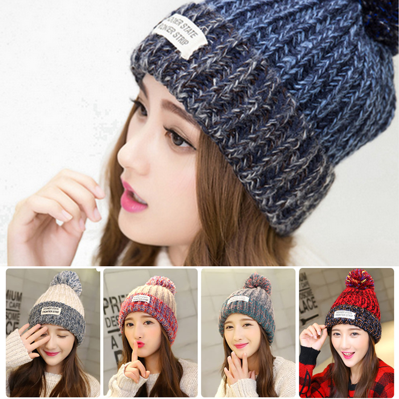 LongKeeper 2017 Fashion Winter Hat For Women Snow Hat Woolen Ball Cap Pom Poms Girls Hat Knitted Beanies Cap Thick Female Cap llama and pom poms snow jackets p