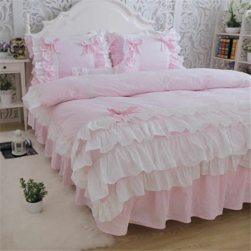 New Luxury Layers Bedding Set Sweet Princess Bow Ruffle Duvet Cover Wedding Bedding Pink Bed Sheet Girl Baby Bed Skirt Cover