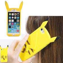 Para Iphone6 6 s Caja de la Historieta 3D Pocket Monsters Pika Suave de Silicona casos para iphone 5 5s 6 plus pokemons cubierta funda para iphone SÍ