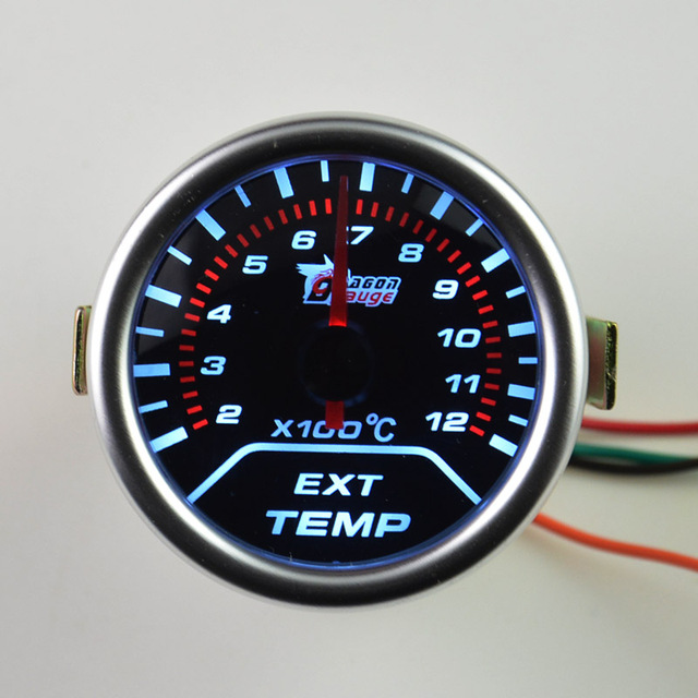 Universal  52mm Sunglasses surface white backlight Auto Exhaust Gas tempe gauge Car modification EXT temperature  meter