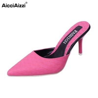 5 Colors Women High Heels Sandals Pointed Toe Thin Heel Shoes Sexy Slingbacks Slippers Sample Full
