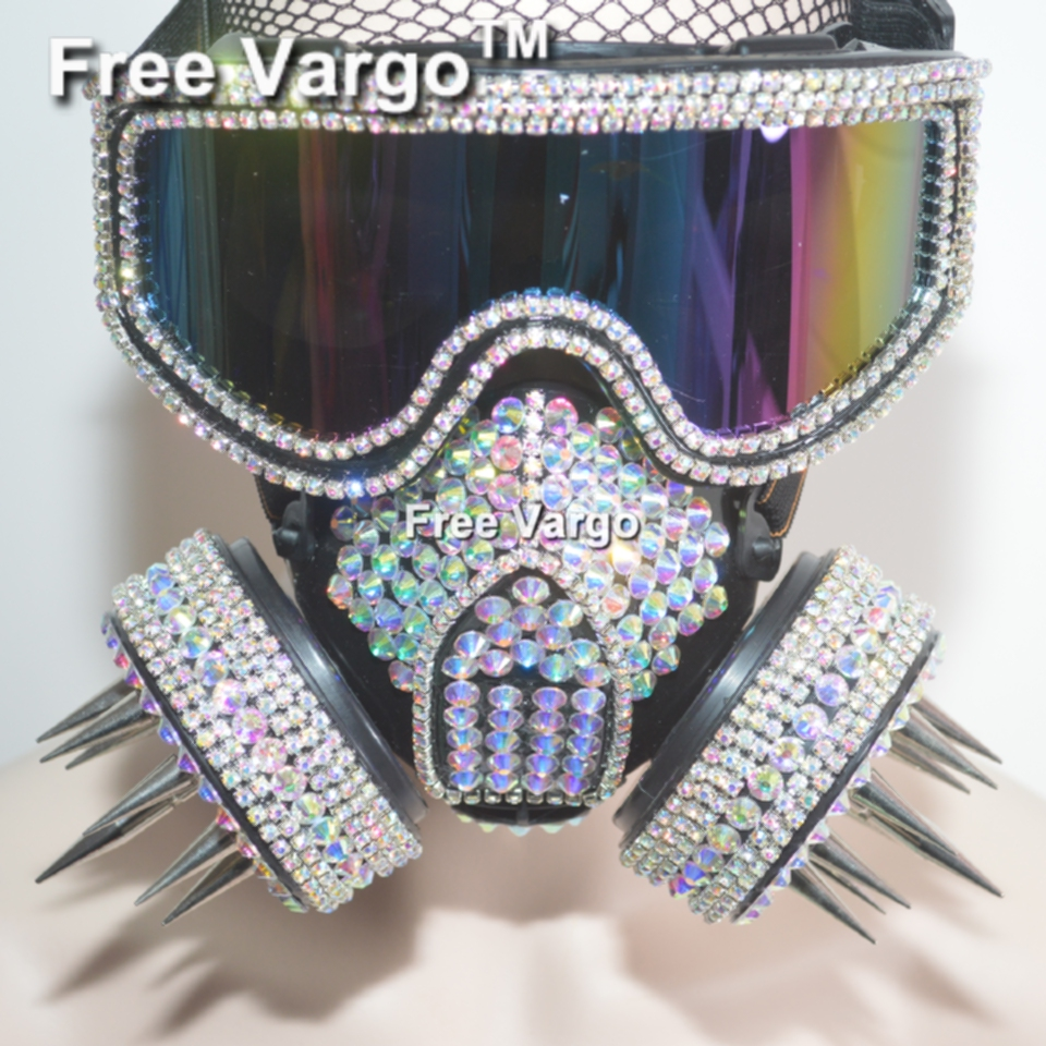 Holographic Burning Man Rhinestone Goggles Streampunk Rivet Mask Halloween Rave Stage Costumes Cosplay Festival Clothes Outfit