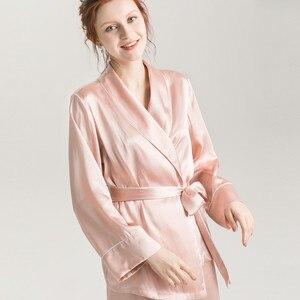 Image 4 - SuyaDream Women Silk Pajama Sets 100%REAL SILK SATIN Robes and Pants 2020 New Spring Sleepwear Pink