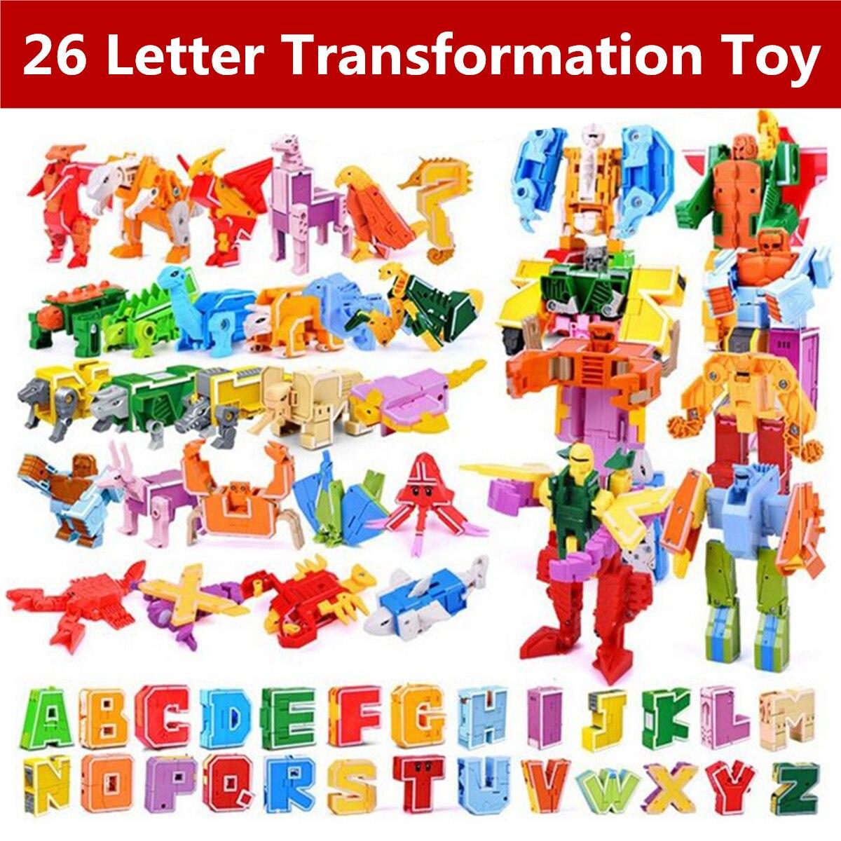 26 pièces lettre anglaise Robot déformation Alphabet Transformations Puzzle dinosaure Robot bricolage blocs de construction enfants jouets éducatifs