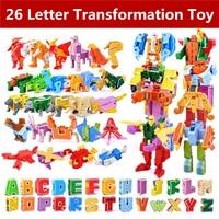 26pcs English Letter Robot Deformation Alphabet Transformations Puzzle Dinosaur Robot DIY Building Blocks Kids Educational Toys