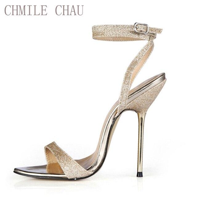 adc7e885f CHMILE CHAU Glitter Mulheres Stiletto sapatos de Salto Alto Sexy Sandálias  de Festa Nupcial Ferro Sapatas