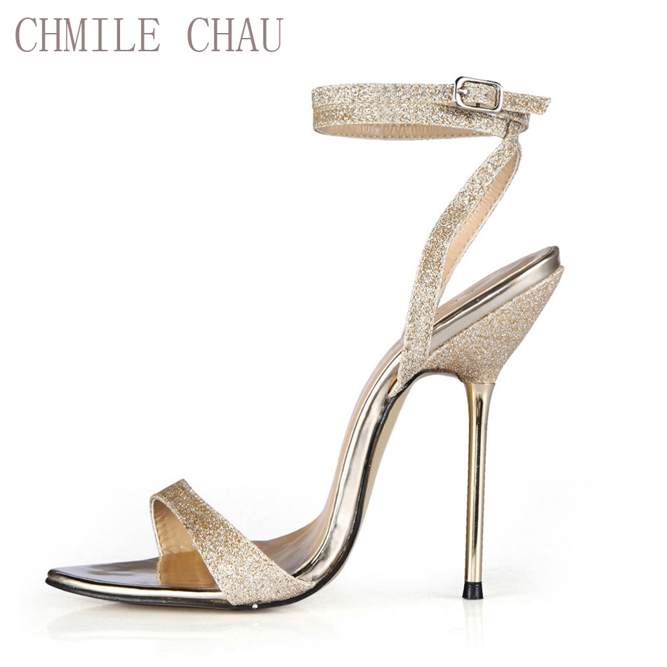 CHMILE CHAU Glitter Women Heeled Sandals Sexig Bridal Party Stiletto Iron High Heel Ankelbandspännen Damskor 3845-i4