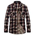 Envío libre Mens Camisas de Tela Escocesa Ocasional Otoño Largo De la Manga rojo Verde Camisas de Hombre De Algodón Camisas de Vaquero Del Oeste de Campo 72hfx