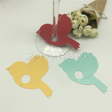 50pcs Wedding Table Decoration Place Cards wine claim Laser Cut lovely bird Wine Glass For Party