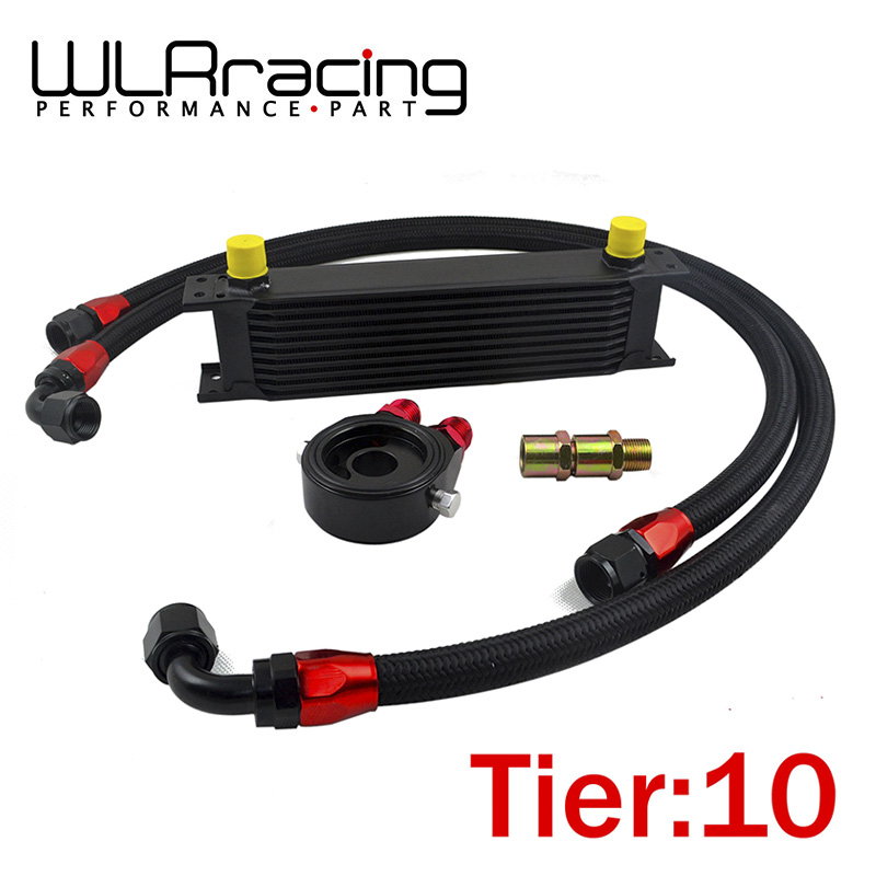 WLR RACING - UNIVERSAL 10 ROWS OIL COOLER + OIL FILTER SANDWICH ADAPTER BLACK + SS NYLON STAINLESS STEEL BRAIDED AN10 HOSE vr universal 10 rows oil cooler engine an10 oil sandwich plate adapte with thermostat 2pcs nylon braided hose line black