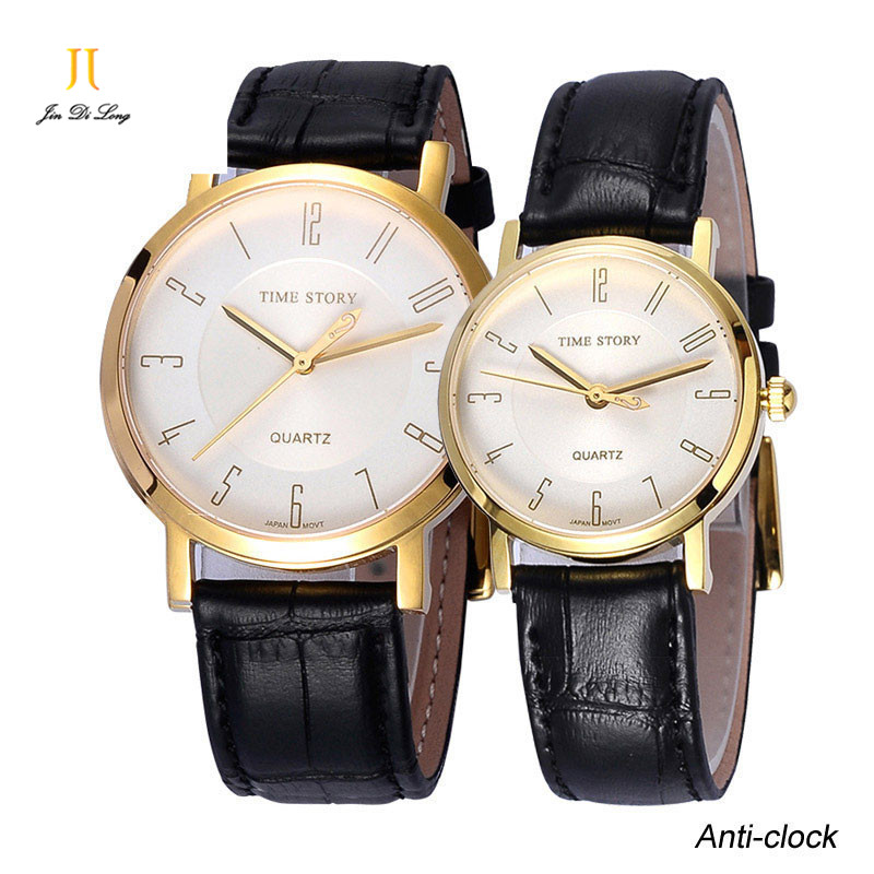ФОТО New Wrist watches for Lovers  Watches women men Genuine Leather Strap Quartz waterproof watches For Valentines Day Gift watch