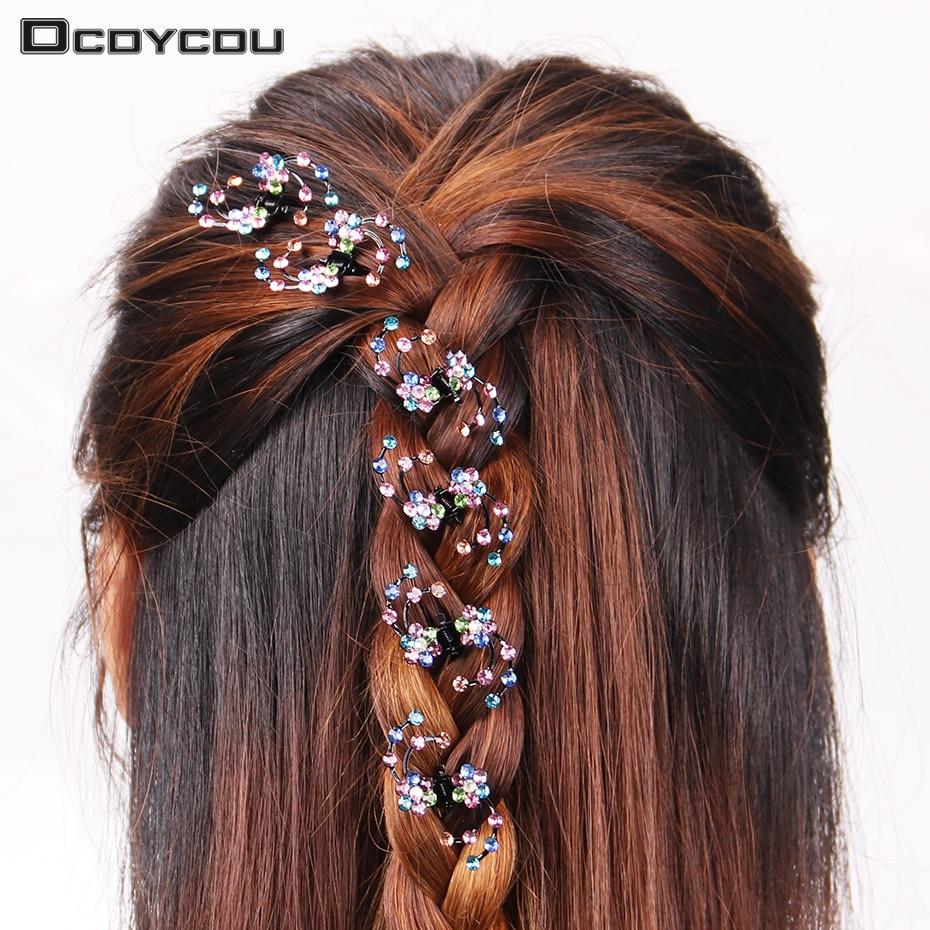 6 шт./1 упак. свадебные волосы когти Для женщин мини-украшения на голову горный хрусталь Снежинка Заколки для волос цветок шпильки для волос аксессуары