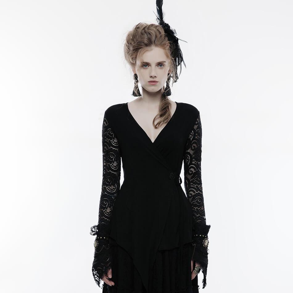 Dentelle T-shirt haut pour femme Modal col en v T-shirt gothique noir Sexy coton T-shirt femmes dame T-shirt vêtements