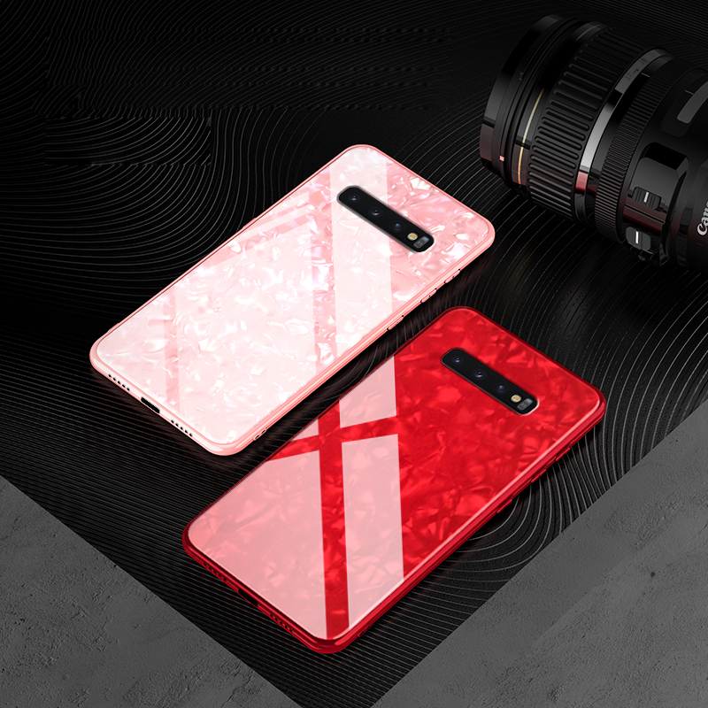 Luxury Marble Case For Samsung Galaxy S10 S8 S9 Plus S10e Cooling Bright Conch Tempered Glass Phone Note 9 8
