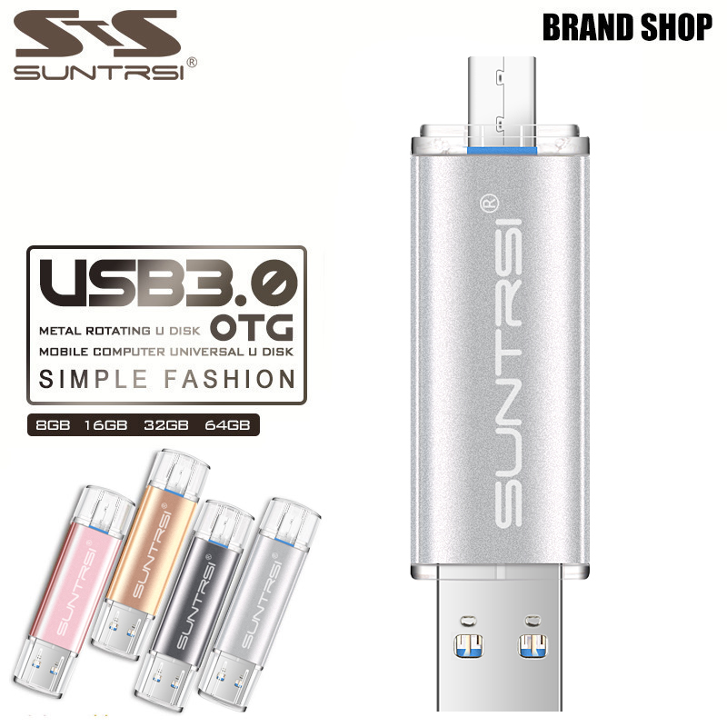 Suntrsi OTG USB 3.0 Flash Drive 64G Real Capacity 16G Pendrive 32G Pen Drive Flash USB Stick Double Plug For Smart Android Phone suntrsi smart phone usb flash drive metal pen drive 64gb pendrive 8gb otg external storage micro usb memory stick flash drive