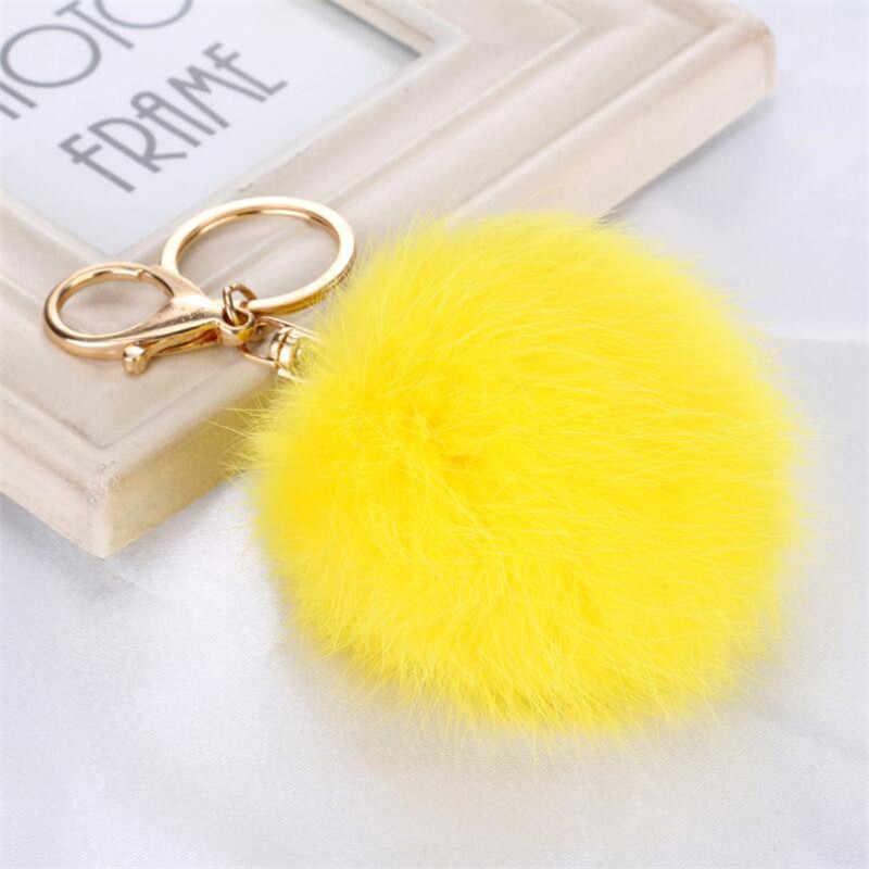 สีเหลือง8เซนติเมตรขนกระต่ายแท้พวงกุญแจลูกพู่โทรศัพท์มือถือรถพวงกุญแจจี้กระเป๋าถือโลหะC Harmพวงกุญแจของขวัญ