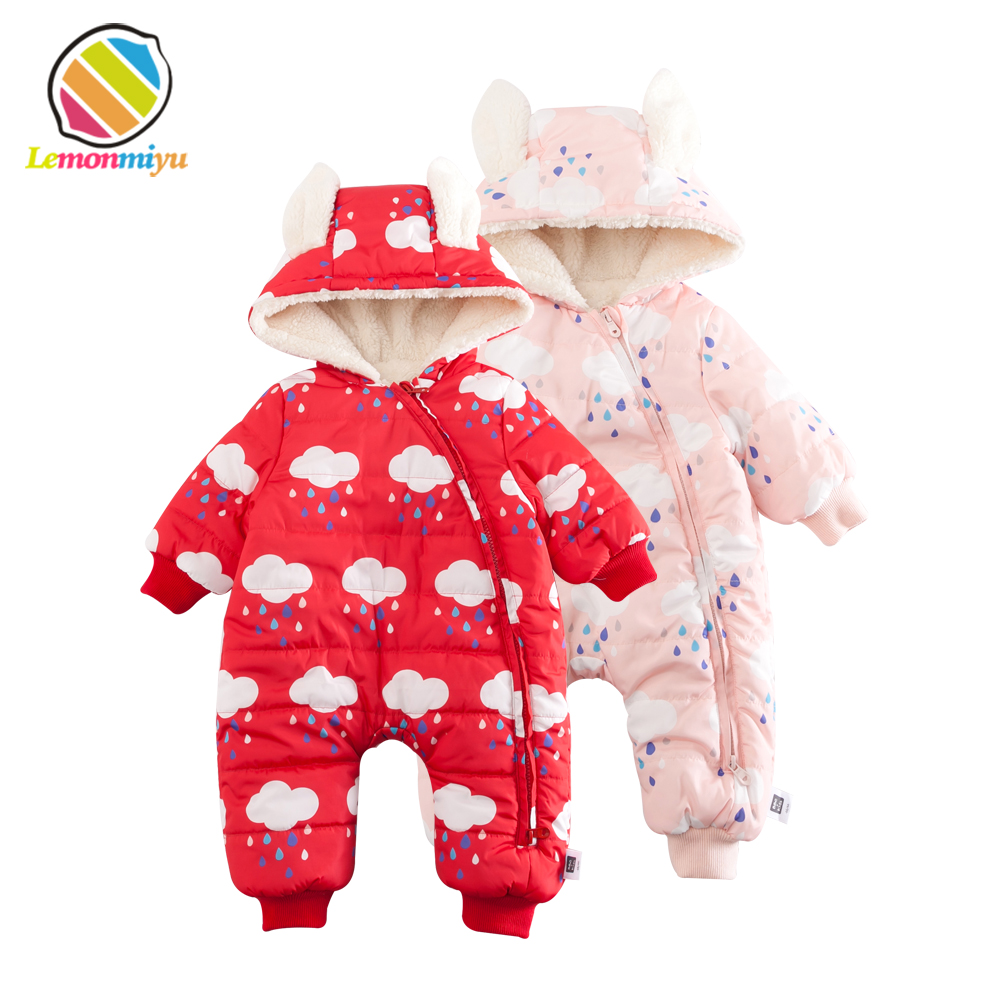 Lemonmiyu Baby Winter Thicken Snowsuits Plus Velvet Infants Warm Rompers Cartoon Cotton Full Zipper Hooded Newborn Jumpsuits 2016 winter new soft bottom solid color baby shoes for little boys and girls plus velvet warm baby toddler shoes free shipping