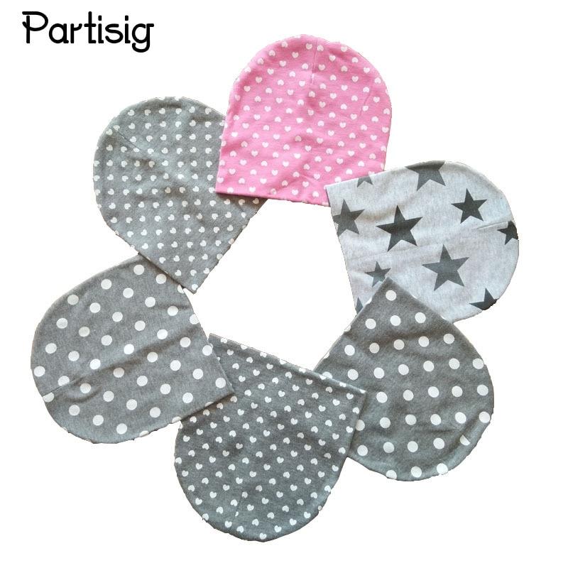 Baby Caps Star Dot Hjerteutskrift Baby Hat Geometrisk Bomull Strikket Baby Boy Hatter Høst Vinter Barnas Beanie Hat