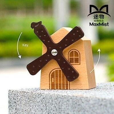 Wood windmill music box rotating music box vintage birthday gift pure wood music box