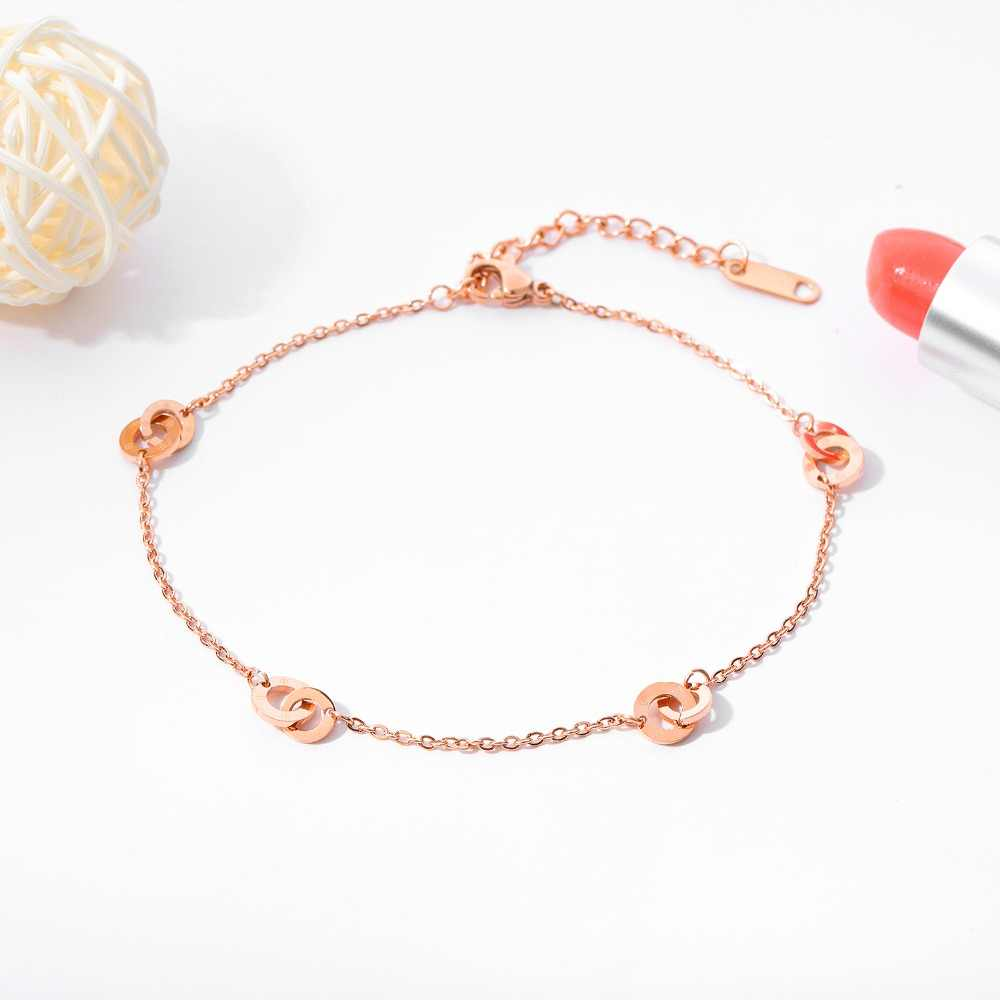 Urok proste ze stali nierdzewnej dwa okrągłe klamra obrączki dla kobiet różowe złoto kolor cienki łańcuszek panie biżuteria letnia dziewczyna prezent