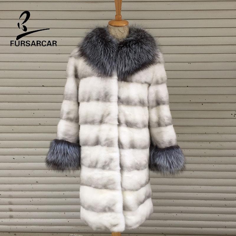 Cuir Femmes Nouveau Fourrure Réel Long Véritable Vison Manteau Mode Avec En Gray Fursarcar Col Light Hiver Renard Chaud De Ypw8Yq