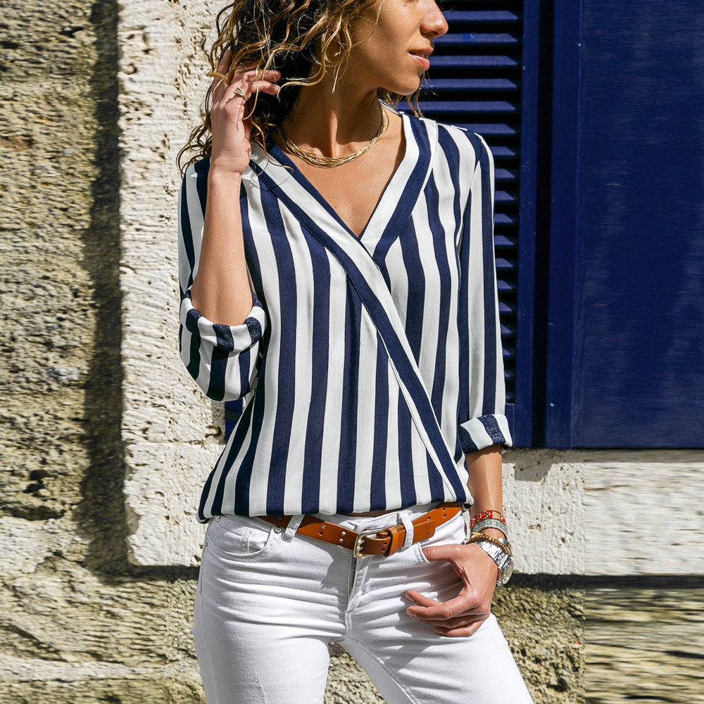 Women Ladies Striped Long Sleeve Irregular Work Office Blouse