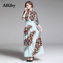 Turn-down Collar Dress Women Long Maxi Dress 2019 Spring/summer New Fashion Vintage Patchwork Print A-Line Slim Dress Vestidos women shirt dress 100% cotton spring summer 2019 new fashion stripes turn down collar long sleeved slim waist split casual dress